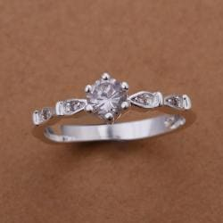Vienna Jewelry Sterling Silver Petite Tiara Shaped Ring Size: 8 - Thumbnail 0