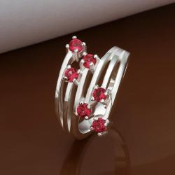 Vienna Jewelry Muli Ruby Red Swirl Lining Ring Size: 8 - Thumbnail 0