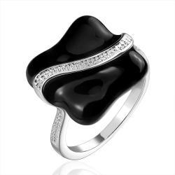 Vienna Jewelry Sterling Silve rMid Onyx Plate Jewels Lining Petite Ring Size: 8 - Thumbnail 0