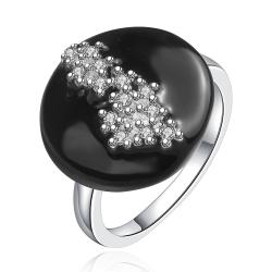 Vienna Jewelry Sterling Silver Circular Onyx Crystal Covering Petite Ring Size: 8 - Thumbnail 0