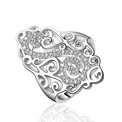 Vienna Jewelry Sterling Silver Swirl Emblem Large Ring Size: 8 - Thumbnail 0