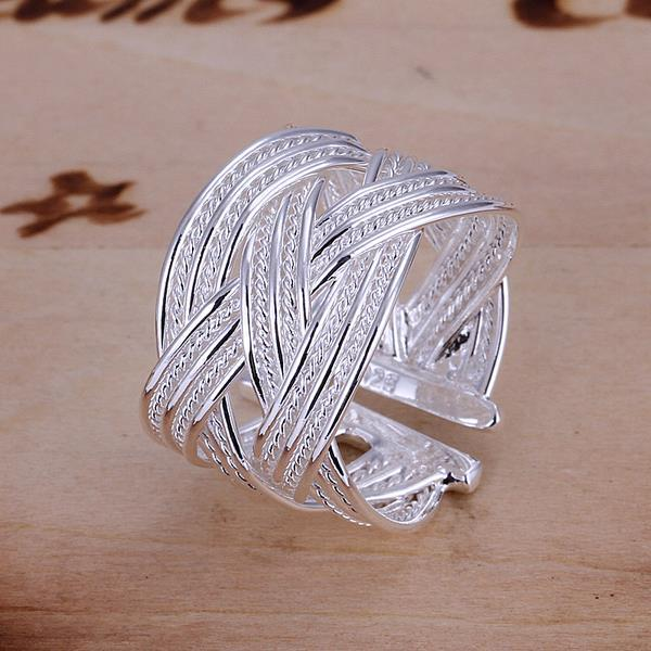 Vienna Jewelry Sterling Silver Interwoven Lined Classic Resizable Ring