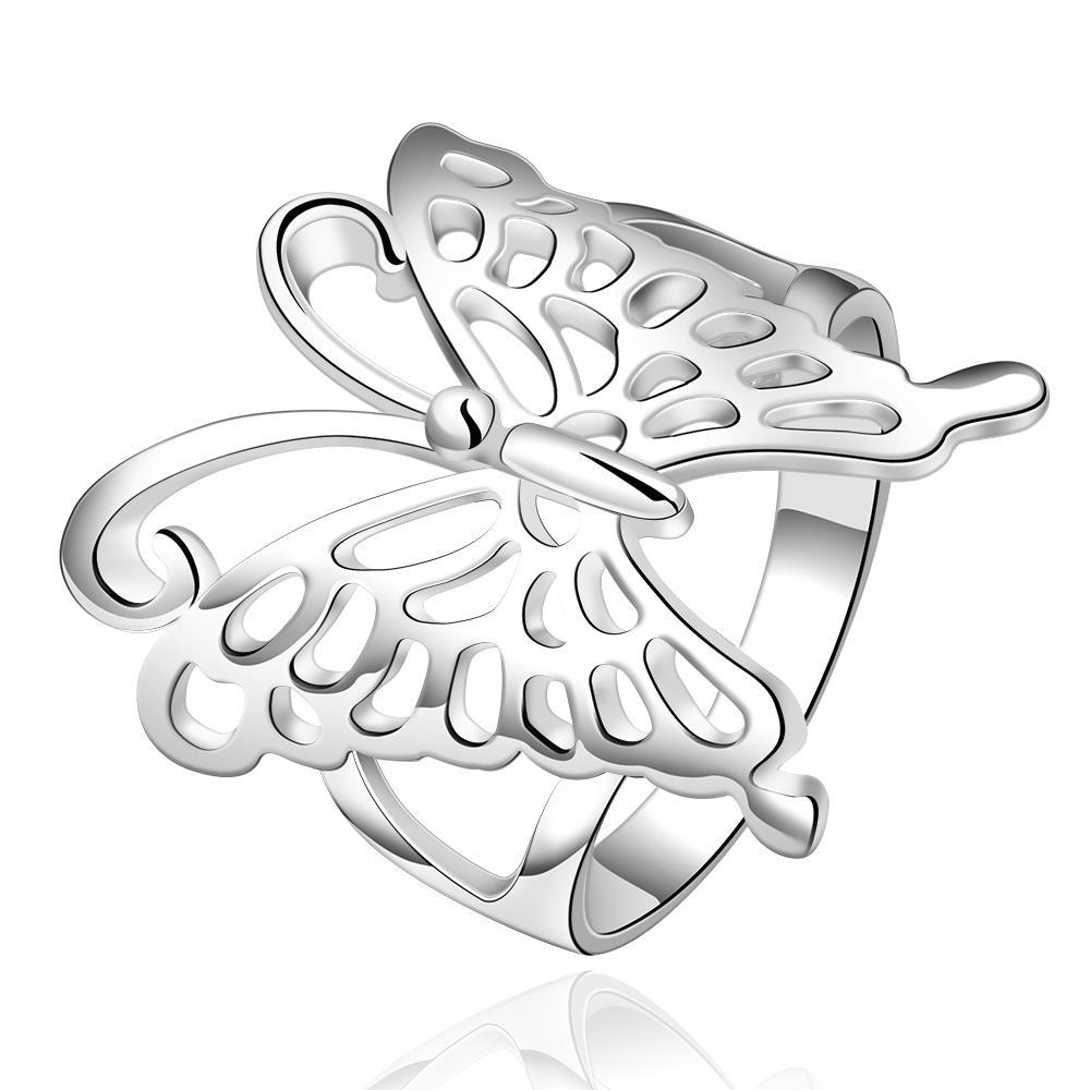 Vienna Jewelry Sterling Silver Laser Cut Petite Butterfly Ring Size: 8