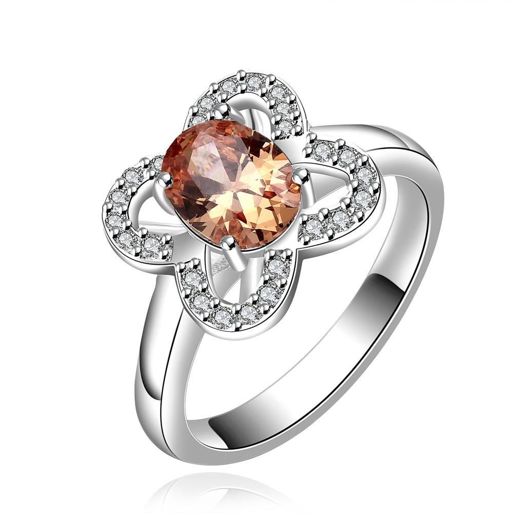 Vienna Jewelry Sterling Silver Orange Citrine Clover Shaped Petite Ring Size: 7