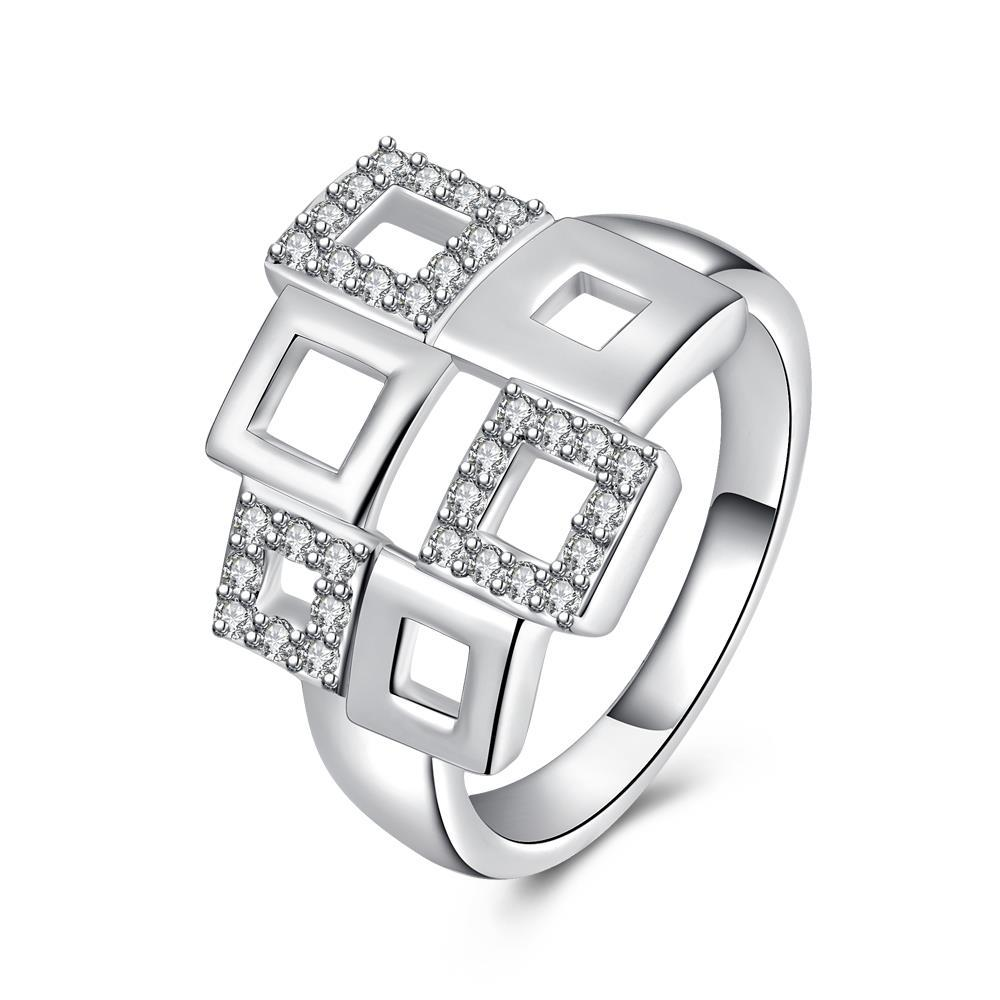 Vienna Jewelry Sterling Silver Multi Hollow Shaped Square Design Ring Size: 7