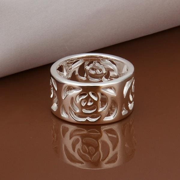 Vienna Jewelry Sterling Silver Laser Cut Floral Inprint Band Size: 8