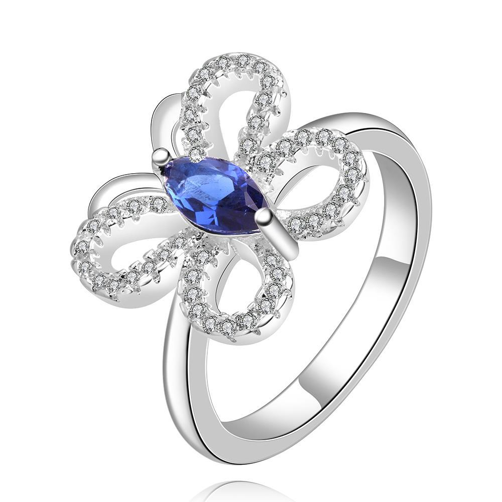 Vienna Jewelry Sterling Silver Hollow Butterfly Mock Sapphire Ring Size: 8