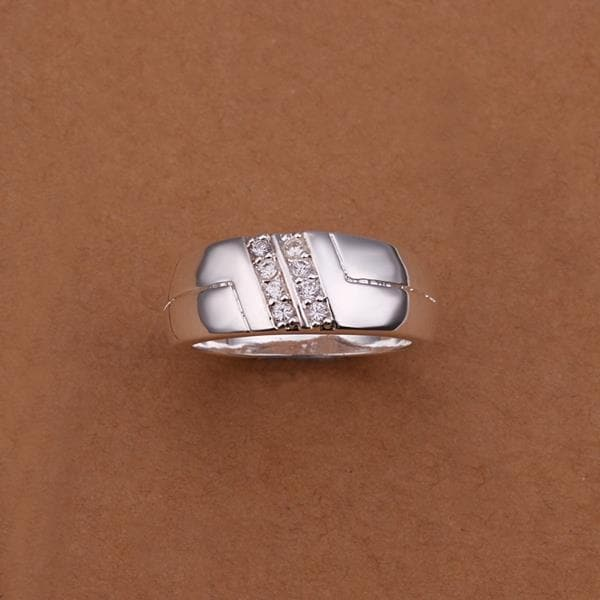 Vienna Jewelry Sterling Silver Side Crystal Lining Petite Ring Size: 8