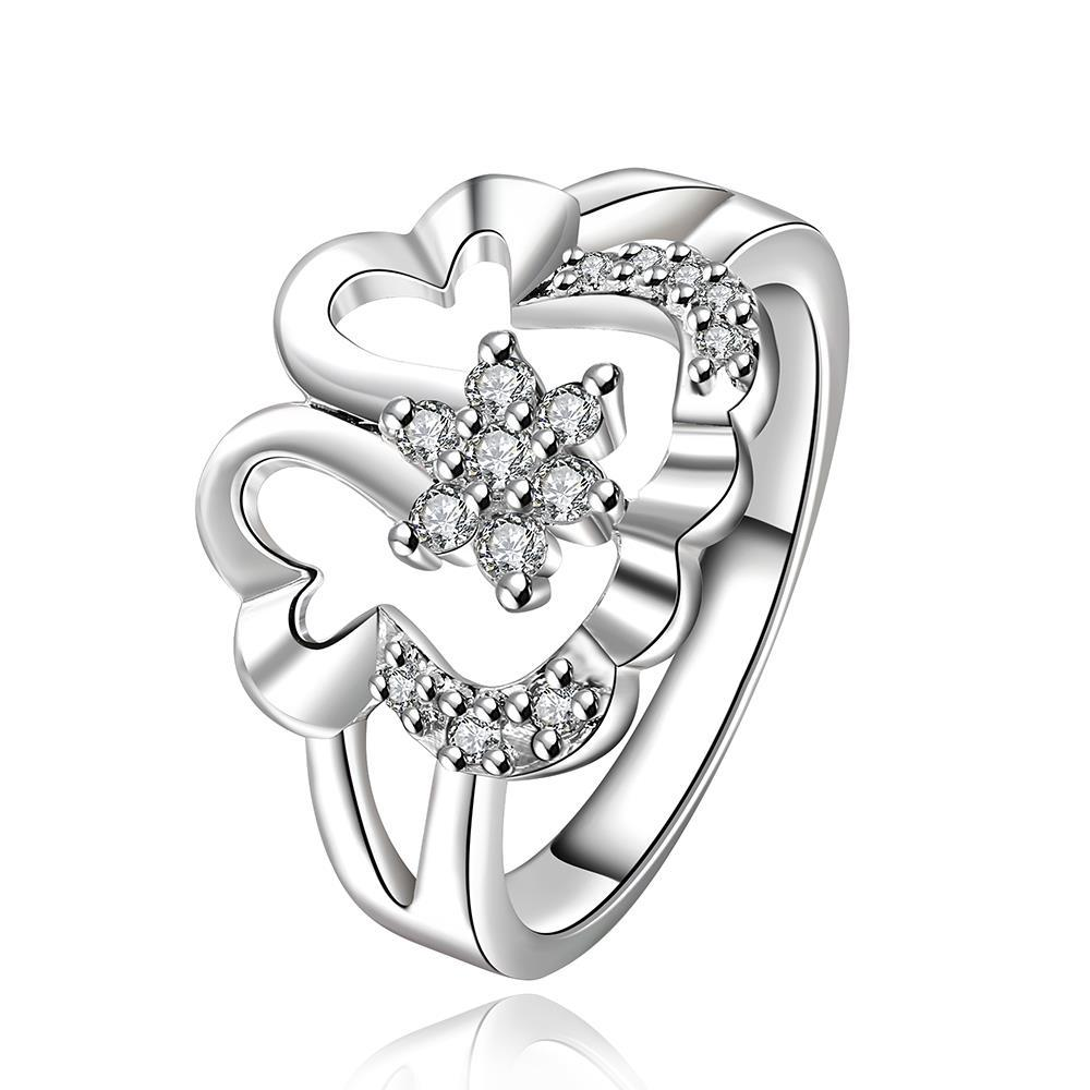 Vienna Jewelry Sterling Silver Curved Hollow Jewels Modern Ring Size: 8