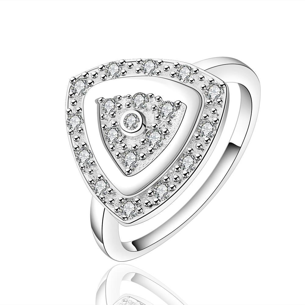 Vienna Jewelry Sterling Silver Pyramid Shaped Crystal Lining Ring Size: 7