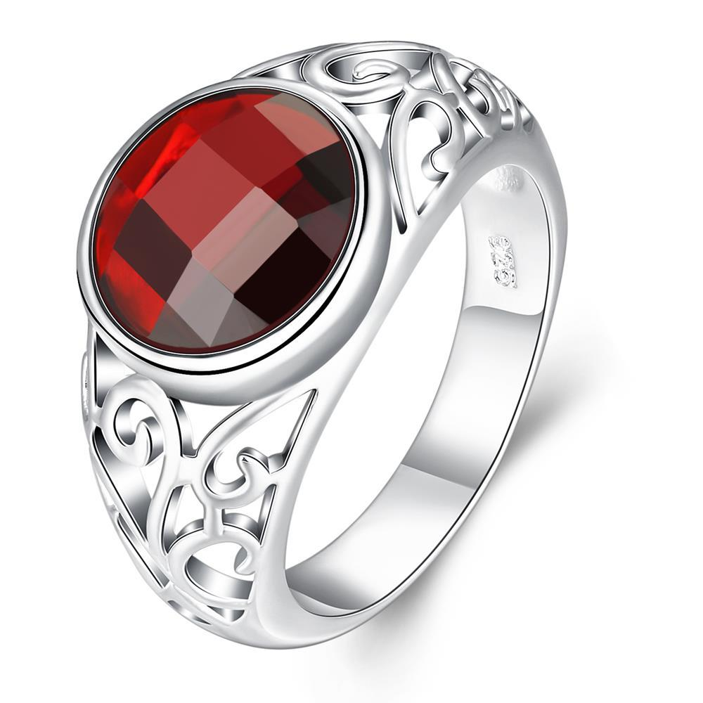 Vienna Jewelry Sterling Silver Shining Ruby Red Gem Ring Size: 8