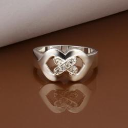 Vienna Jewelry Sterling Silver Duo-Heart Shaped Petite Ring Size: 8 - Thumbnail 0