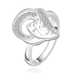 Vienna Jewelry Sterling Silver Duo-Curved Emblem Petite Ring Size: 7 - Thumbnail 0