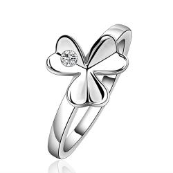 Vienna Jewelry Sterling Silver Trio-Clover Petals Petite Ring Size: 7 - Thumbnail 0