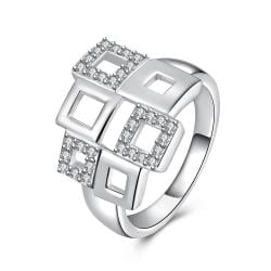 Vienna Jewelry Sterling Silver Multi Hollow Shaped Square Design Ring Size: 7 - Thumbnail 0