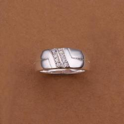 Vienna Jewelry Sterling Silver Side Crystal Lining Petite Ring Size: 8 - Thumbnail 0