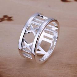 Vienna Jewelry Sterling Silver Roman Numeral Ingrain Ring Size: 8 - Thumbnail 0