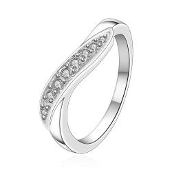 Vienna Jewelry Sterling Silver Cruved Abstract Jewels Lining Petite Ring Size: 7 - Thumbnail 0
