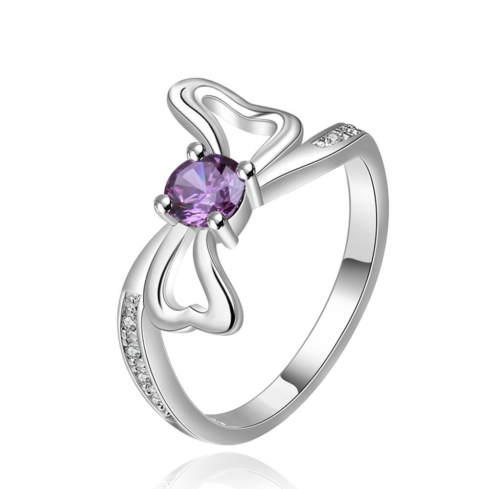 Vienna Jewelry Sterling Silver Purple Citrine Bow-Tie Ring Size: 8