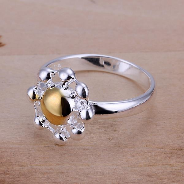 Vienna Jewelry Sterling Silver Gold Bead Blossoming Ring Size: 8