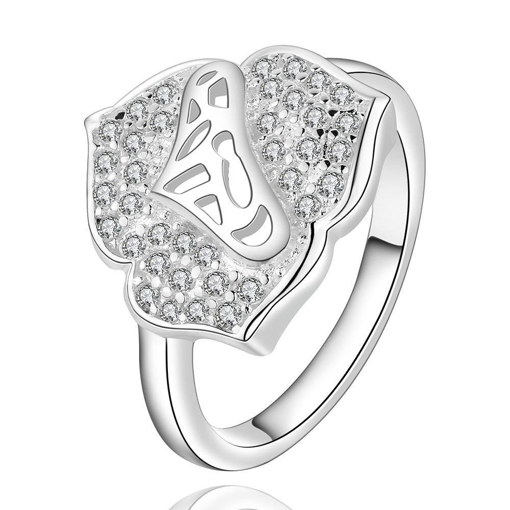 Vienna Jewelry Sterling Silver Jewels Covering Blossoming Clover Modern Ring Size: 8