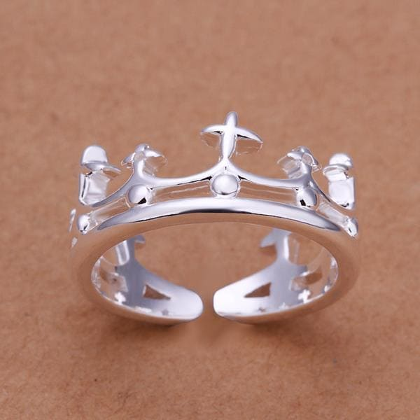 Vienna Jewelry Sterling Silver King's Crown Petite Ring Size: 8