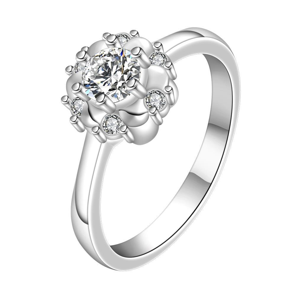 Vienna Jewelry Classic Crystal Floral Design Petite Ring Size: 8