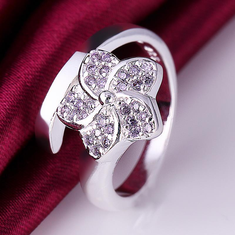 Vienna Jewelry Sterling Silver Floral Curved Ring Size: 8