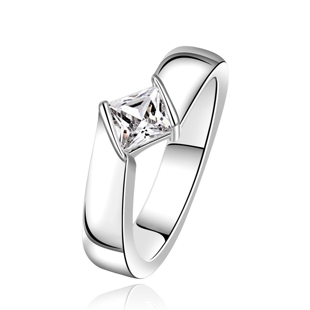 Vienna Jewelry Sterling Silver Modern Crystal Twist Ring Size: 7