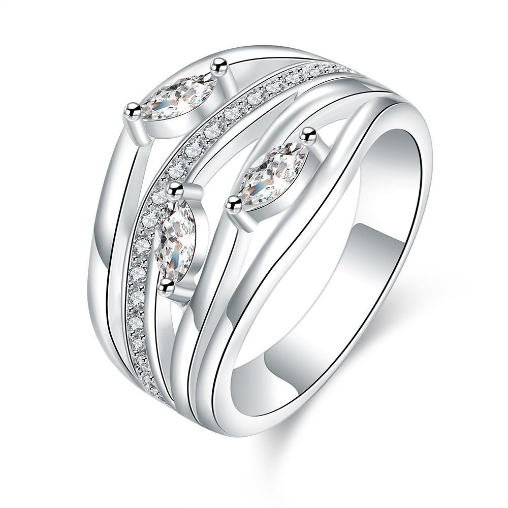 Vienna Jewelry Sterling Silver Multi Jewels Insert Classical Ring Size: 7