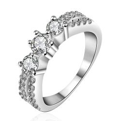 Vienna Jewelry Sterling Silver Trio Crystal Petite Ring Size: 8 - Thumbnail 0