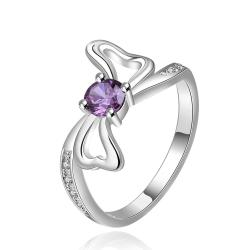 Vienna Jewelry Sterling Silver Purple Citrine Bow-Tie Ring Size: 8 - Thumbnail 0