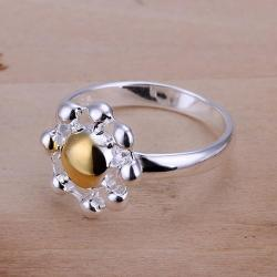 Vienna Jewelry Sterling Silver Gold Bead Blossoming Ring Size: 8 - Thumbnail 0