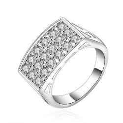 Vienna Jewelry Sterling Silver Crystal Filled Plate Ring Size: 7 - Thumbnail 0