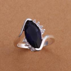 Vienna Jewelry Sterling Silver Mock Sapphire Curved Petite Ring Size: 8 - Thumbnail 0