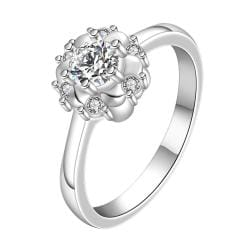 Vienna Jewelry Classic Crystal Floral Design Petite Ring Size: 8 - Thumbnail 0