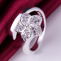 Vienna Jewelry Sterling Silver Floral Curved Ring Size: 8 - Thumbnail 0