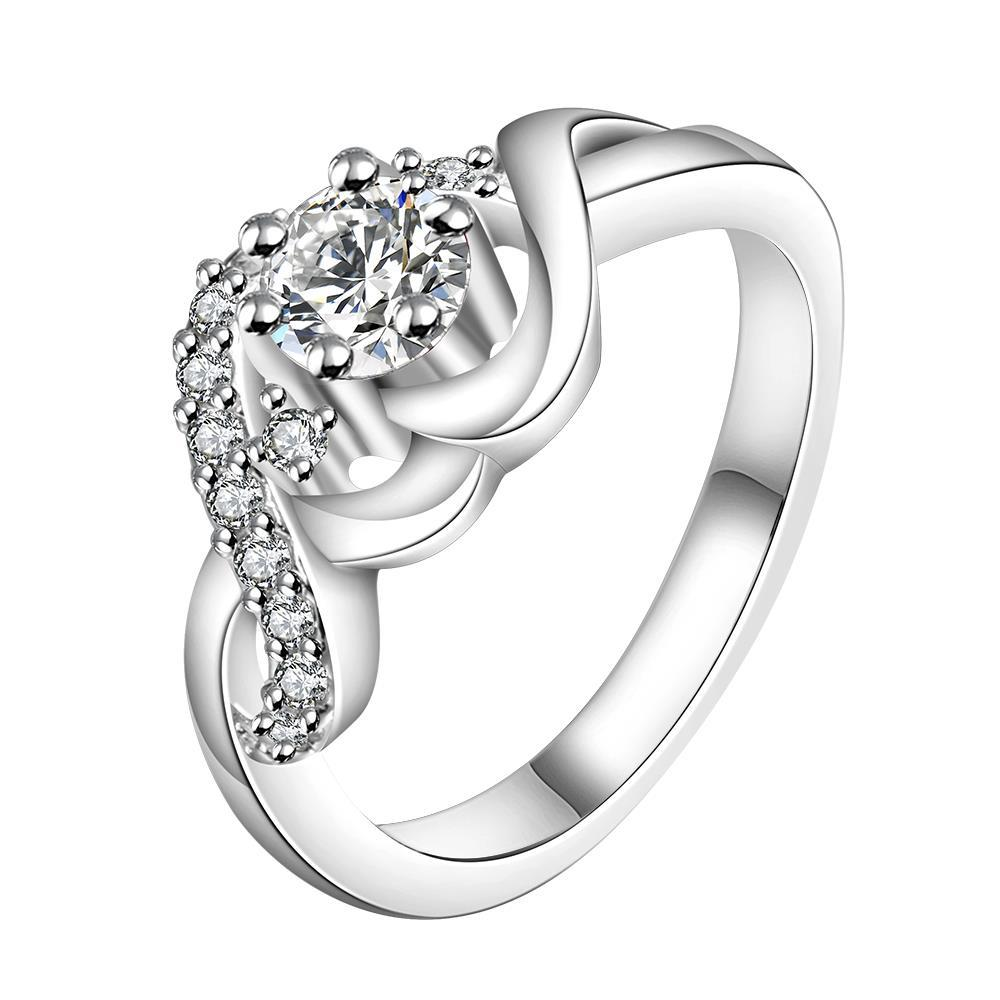 Vienna Jewelry Sterling Silver Petite Crystal Jewel Swirl Design Ring Size: 8