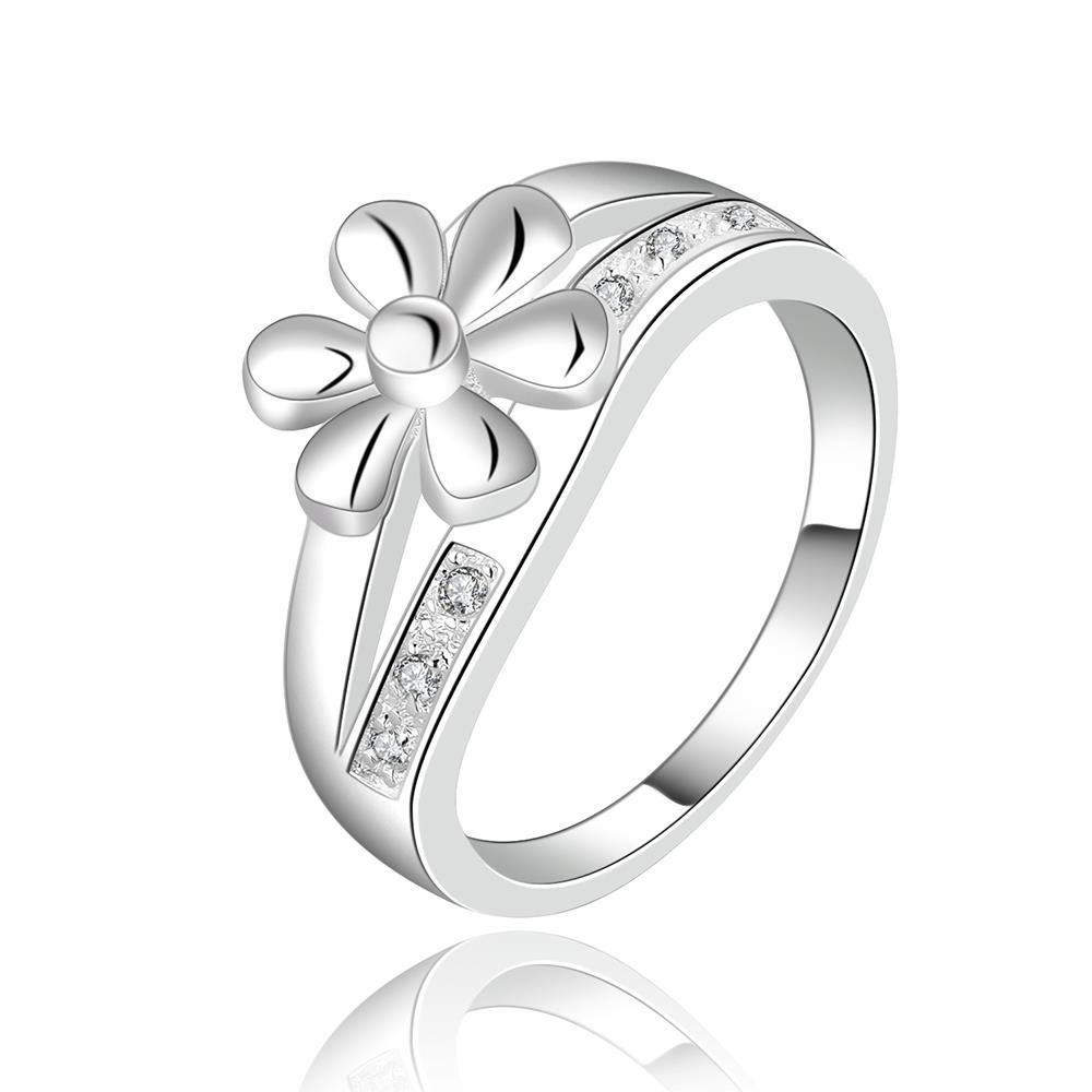Vienna Jewelry Sterling Silver Petite Clover Ingrain Ring Size: 8