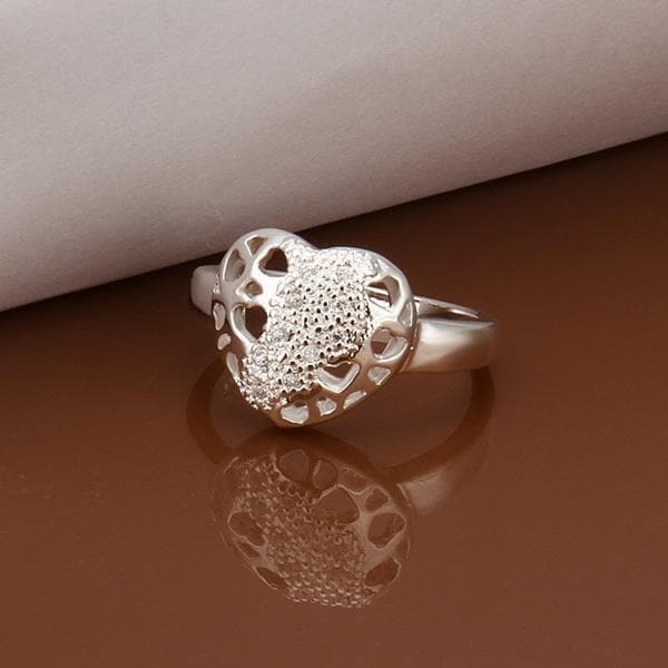 Vienna Jewelry Sterling Silver Laser Cut Circular Emblem Petite Ring Size: 8