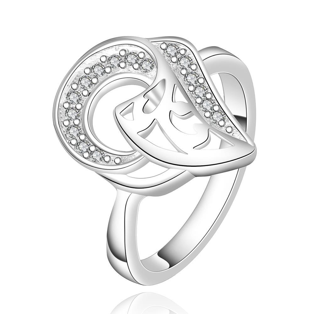 Vienna Jewelry Sterling Silver Duo-Curved Emblem Petite Ring Size: 8 - Thumbnail 0