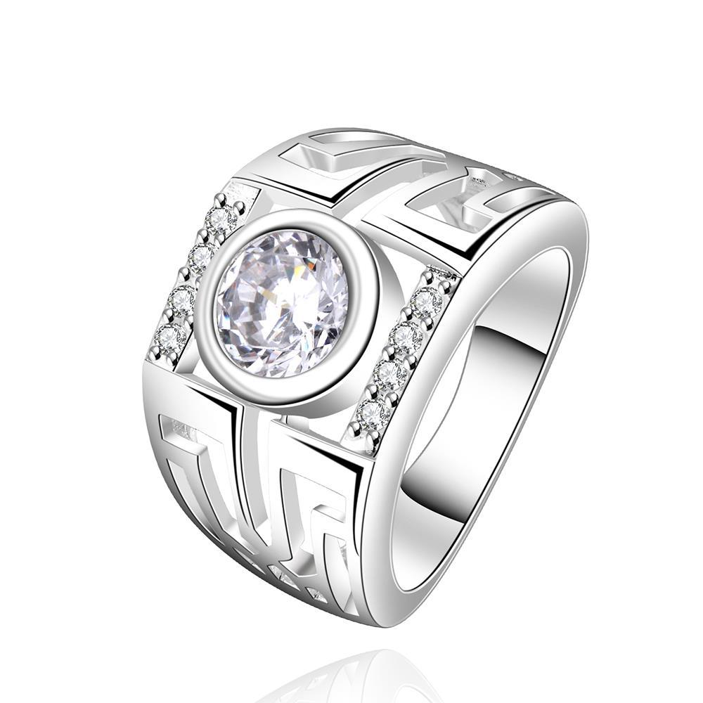 Vienna Jewelry Sterling Silver Center Crystal Classic Band Size: 8