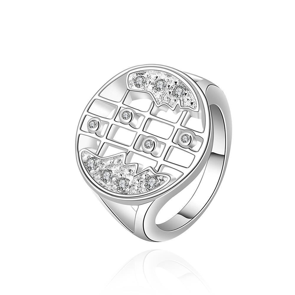 Vienna Jewelry Sterling Silver Laser Cut Jewels Covering Modern Ring Size: 8