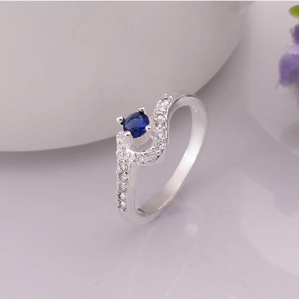 Vienna Jewelry Sterling Silver Swirl Mock Sapphire Curved Ring Size: 8