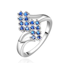 Vienna Jewelry Sterling Silver Sapphire Blossoming Orchid Petite Ring Size: 8 - Thumbnail 0
