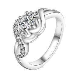 Vienna Jewelry Sterling Silver Petite Crystal Jewel Swirl Design Ring Size: 8 - Thumbnail 0