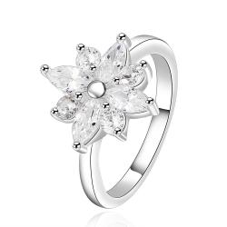 Vienna Jewelry Sterling Silver Classic Floral Petite Ring Size: 7 - Thumbnail 0