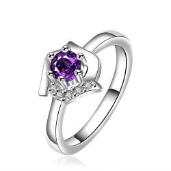 Vienna Jewelry Purple Citrine Floral Shaped Petite Ring Size: 8 - Thumbnail 0