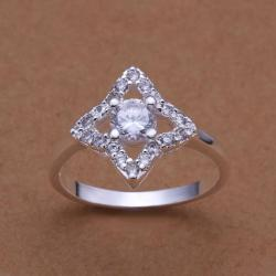 Vienna Jewelry Sterling Silver Diamond Shaped Crystal Lined Ring Size: 8 - Thumbnail 0