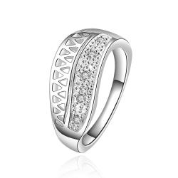 Vienna Jewelry Sterling Silver Half Laser Cut Petite Ring Size: 8 - Thumbnail 0